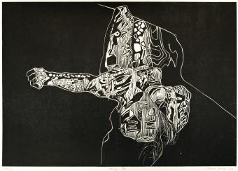 Sebastian Skowroński, Figura IV, 2011, drzeworyt, nakład:7 szt., 42x60cm, papier graficzny Canson Edition 77x57cm
