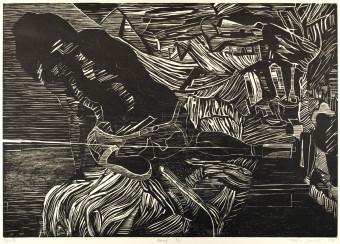 Sebastian Skowroński, Figura VII, 2011, drzeworyt, nakład:9szt., 42x60cm, papier graficzny Canson Edition (77x57cm)