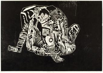 Sebastian Skowroński, Figura V, 2011, drzeworyt, nakład:11szt., 42x60cm, papier graficzny Canson Edition (77x57cm)