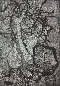 Sebastian Skowroński, Inner and Outer I, 2018, linoryt, 97x68,5cm, odbitka 3/4, papier graficzny 300g (100x70cm)