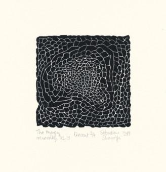 Sebastian Skowroński, The Energy recording XLIII, 2017, linoryt, 10x10,3cm, odbitka 2/4, papier Hahnemuhle 300g (19x18,4cm).